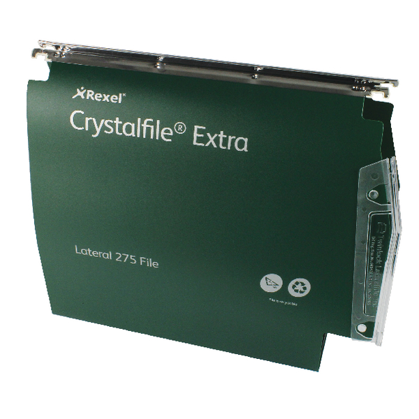 Rexel Crystalfile Extra 50mm Lateral File 500 Sheet Green (25 Pack) 71763