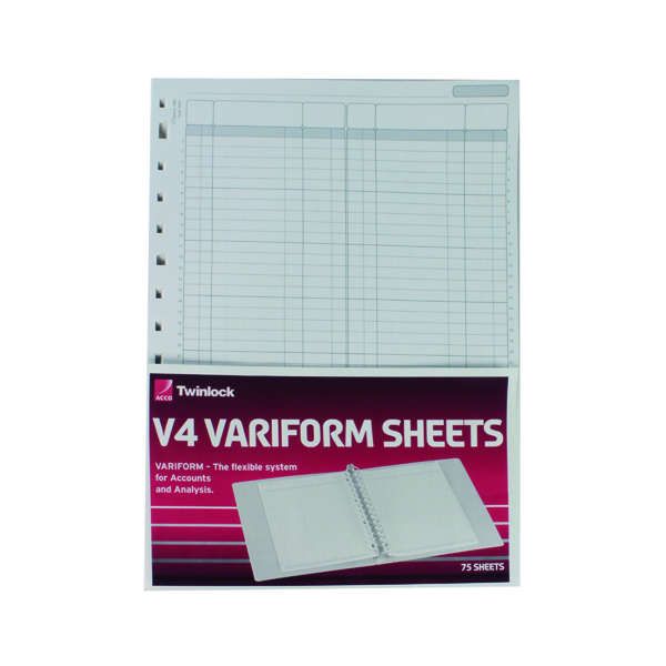Analysis Paper Rexel Variform V4 F1 Double Ledger Refill (75 Pack) 75951