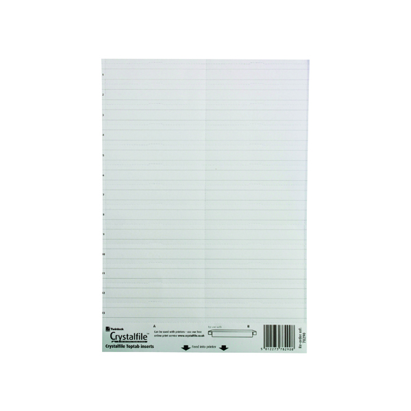 Rexel Crystalfile Classic Linked Top Tab Inserts White (50 Pack) 78290