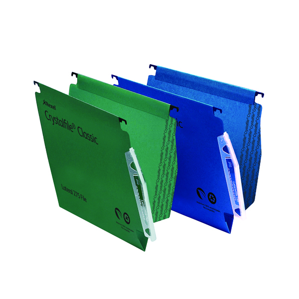 Lateral File Rexel CrystalFile Classic 15mm Lateral File Manilla 150 Sheet Green (50 Pack) 78652