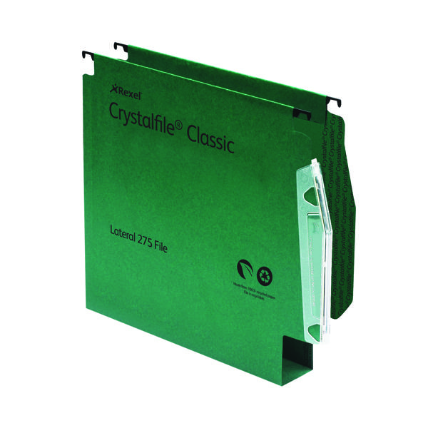 Rexel CrystalFile Classic 30mm Lateral File Manilla 300 Sheet Green (50 Pack) 78654