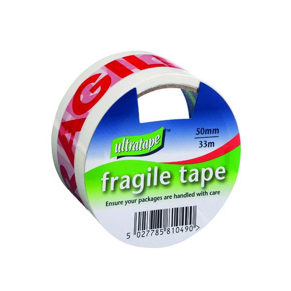 36-50mm Fragile Tape 50mmx33m 1 Roll Ultra Red/White (6 Pack) FRAG-5033-UL1