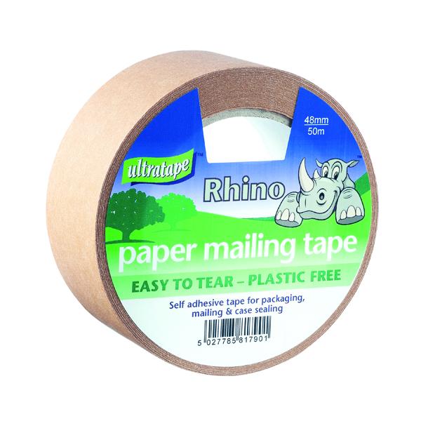 Packing Tape Ultratape Rhino Paper Mailing Tape 48mm x 50m (18 Pack) PM02124850RH