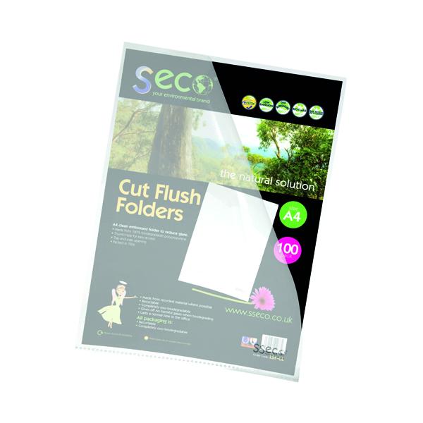 A4 Stewart Superior Eco Cut Flush Folder Clear (100 Pack) LSF-CL