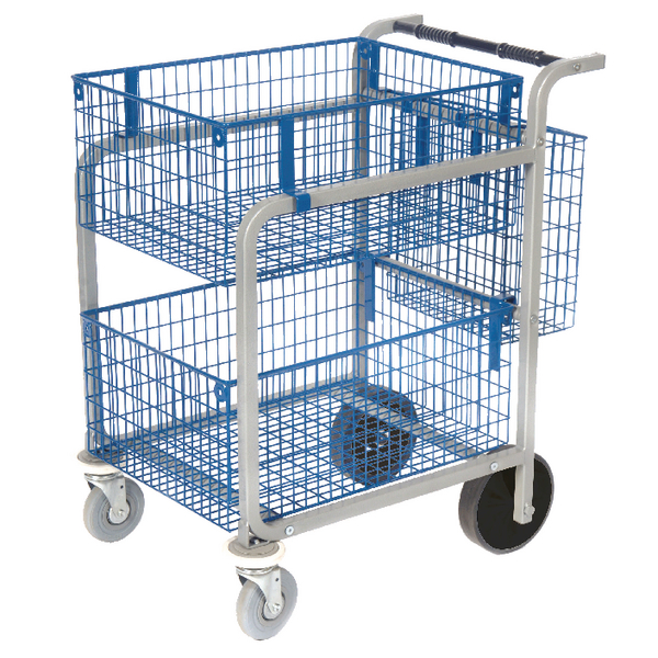 GoSecure Heavy Duty Mail Trolley 2 x Wire Baskets MT3