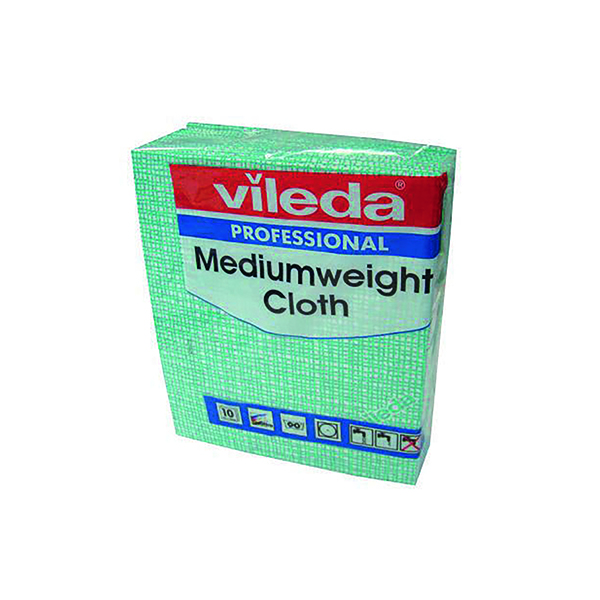 Cloths / Dusters / Scourers / Sponges Vileda Medium Weight Cloth Green (10 Pack) 106401