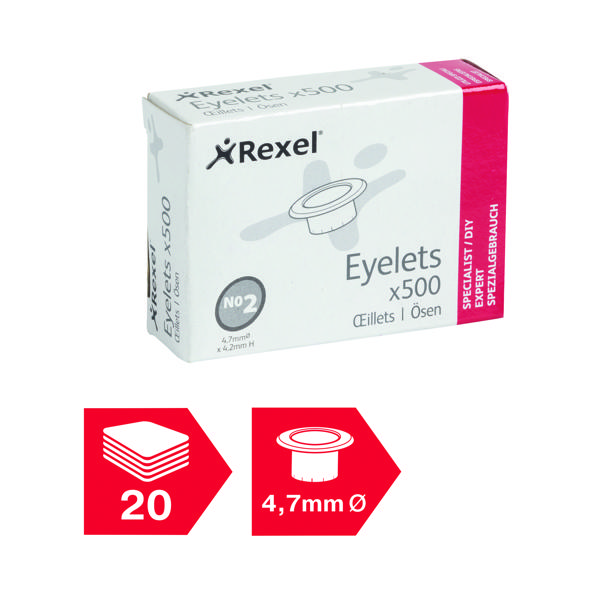 Others Rexel Eyelets 4.7mm x 4.2mm (500 Pack) 20320050