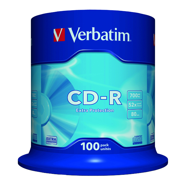 CD Verbatim CD-R Datalife Non-AZO 80minutes 700MB 52X Non-Printable Spindle (100 Pack) 43411