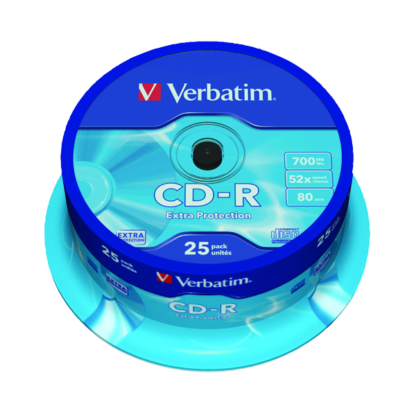 CD Verbatim CD-R Datalife Non-AZO 80minutes 700MB 52X Non-Printable Spindle (25 Pack) 43432