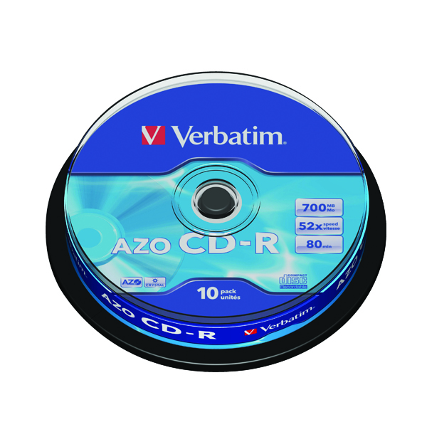 CD Verbatim CD-R Datalife Non-AZO 80minutes 700MB 52X Non-Printable Spindle (10 Pack) 43437