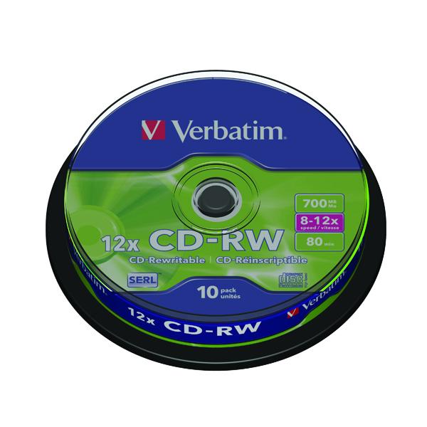 CD Verbatim CD-RW Datalife Plus 80minutes 8-12X Hi-Speed Spindle (10 Pack) 43480