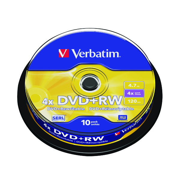 DVD Verbatim DVD+RW Silver Non-Printable Spindle (10 Pack) 43488