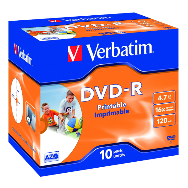 DVD Verbatim 4.7GB 16x Speed Jewel Case DVD-R (10 Pack) 43521