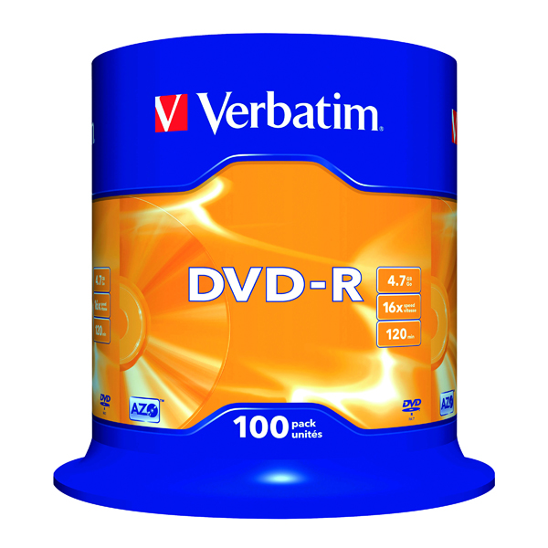 DVD Verbatim DVD-R 16x Non-Printable Spindle (100 Pack) 43549
