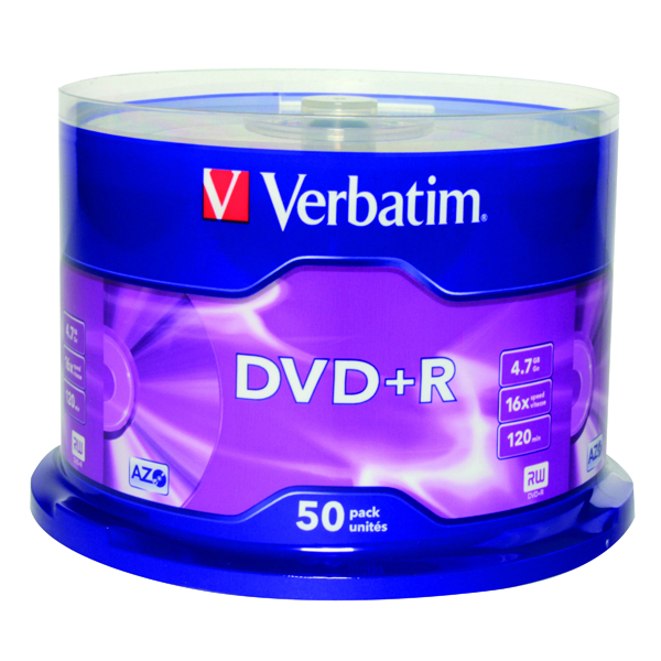 Verbatim DVD+R 16X Non-Printable Spindle (50 Pack) 43550
