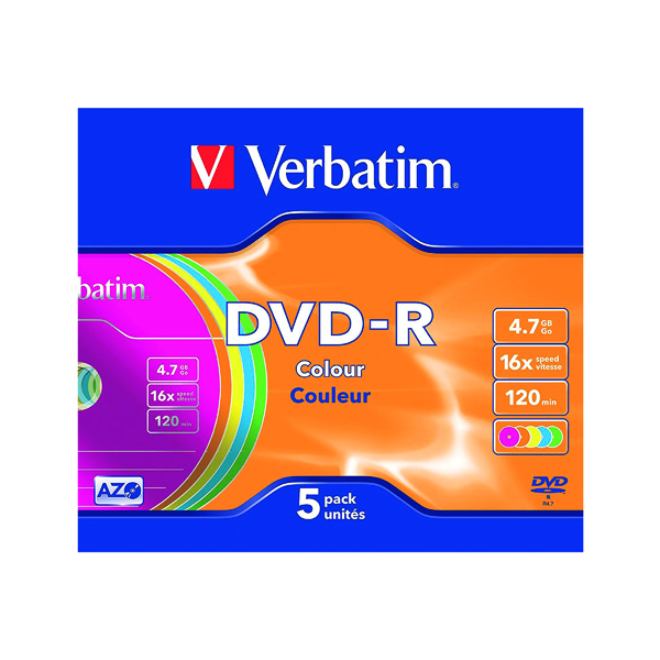 DVD Verbatim 4.7GB Non-Printable Jewel Case DVD-R (5 Pack) 43557