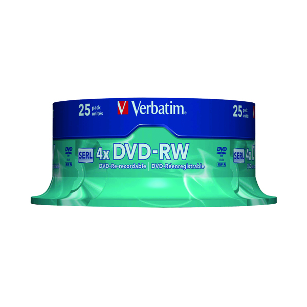 DVD Verbatim DVD-RW 4X Silver Non-Printable Spindle (25 Pack) 43639