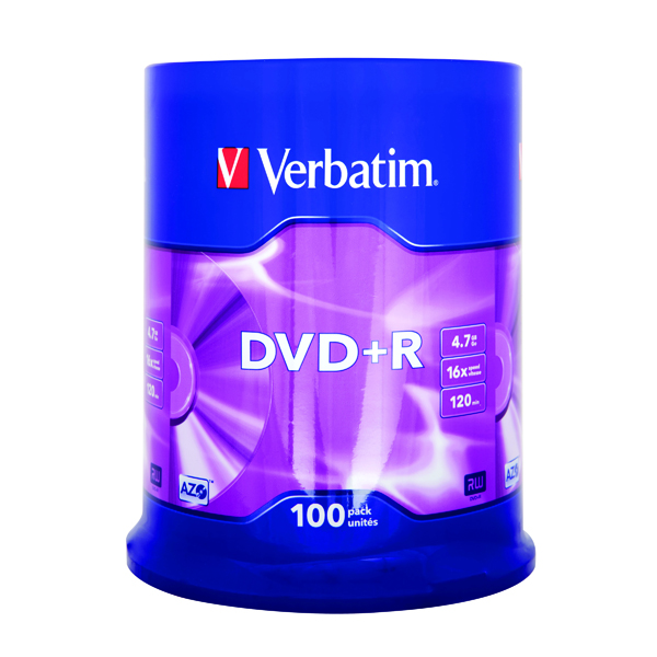 DVD Verbatim 4.7GB 16x Speed DVD+R Spindle (100 Pack) 43551