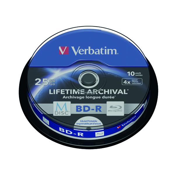 CD Verbatim M-Disc Blu-ray BD-R 25 GB 4x Printable Spindle (10 Pack) 43825