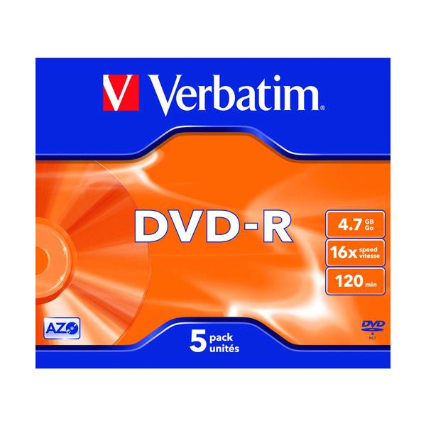 Verbatim 4.7GB 16x Speed Jewel Case DVD-R (5 Pack) 43519