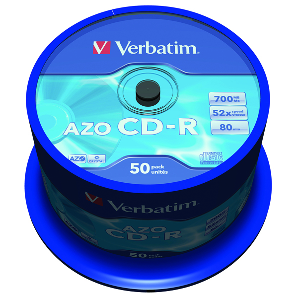 CD Verbatim CD-R 700MB 80minutes Spindle (50 Pack) 43343