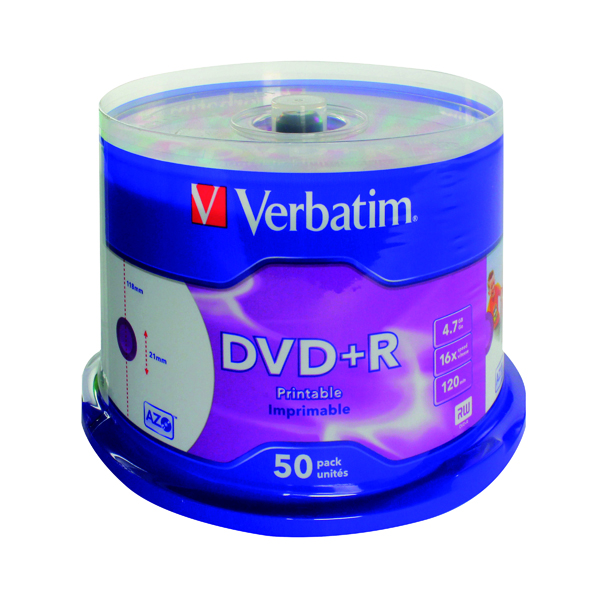DVD Verbatim DVD+R 16X 4.7GB Spindle (50 Pack) 43512