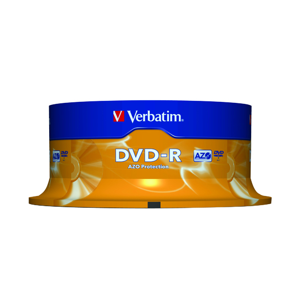 Verbatim Colour 4.7GB Spindle DVD-R (25 Pack) 43522