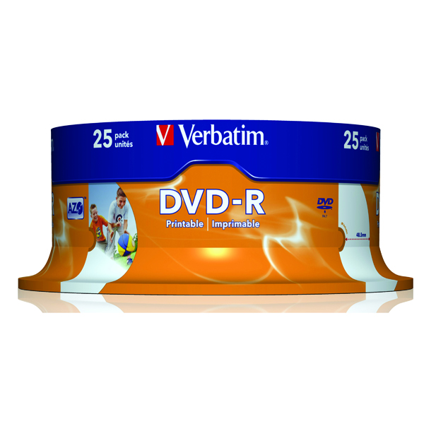 DVD Verbatim 4.7GB 16x Speed Spindle DVD-R (25 Pack) 43538