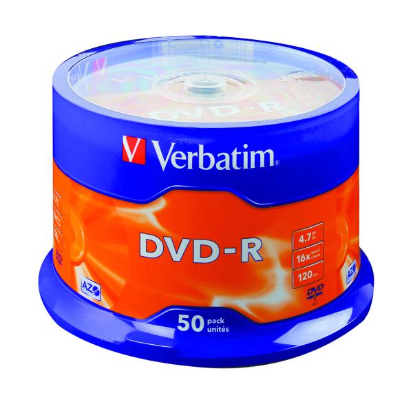 DVD Verbatim 4.7GB 16x Speed Spindle DVD-R (50 Pack) 43548
