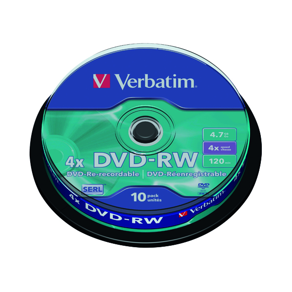 DVD Verbatim DVD-RW Discs 4X 4.7GB (Spindle of 10 Pack) 43552