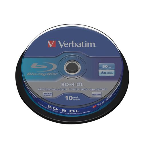 Blu Ray Verbatim Blu-Ray BD-R 50 GB 6x Spindle (10 Pack) 43746