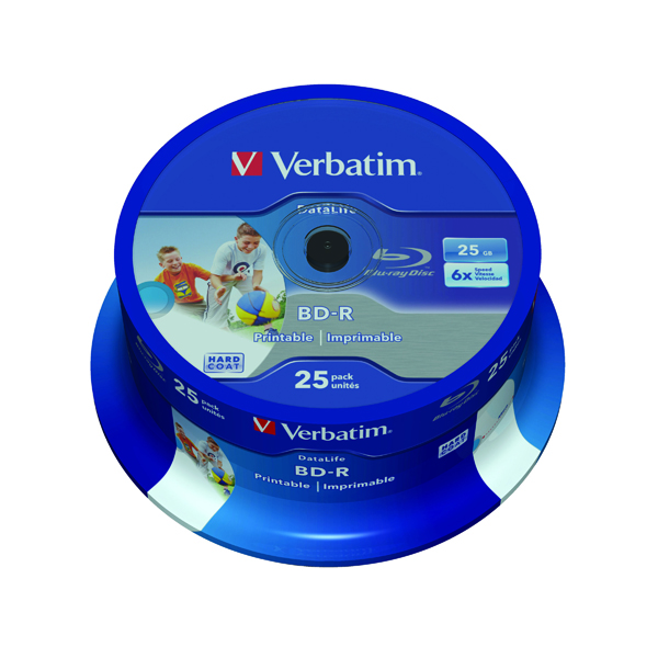 Blu Ray Verbatim Blu-ray BD-R 25 GB 6x Printable Spindle (25 Pack) 43811