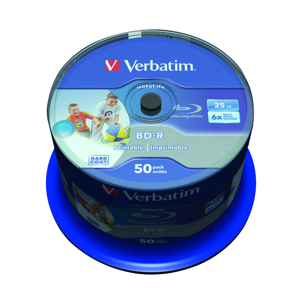 Verbatim Blu-ray BD-R 25 GB 6x Printable Spindle (50 Pack) 43812
