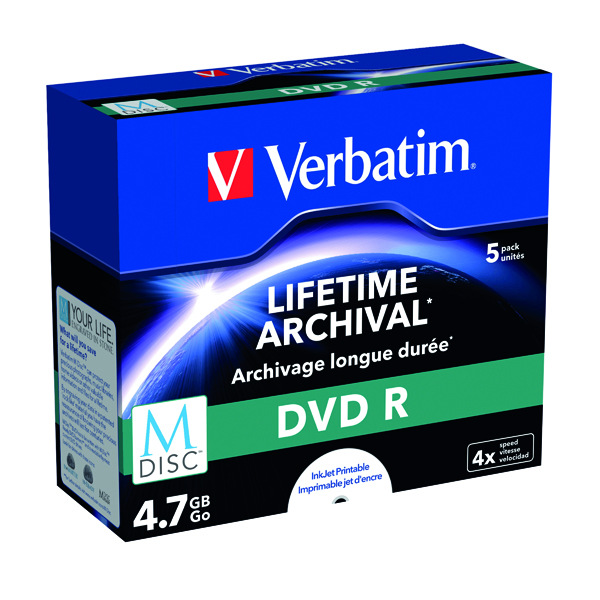 DVD Verbatim M-Disc DVD R 4.7 GB 4x Printable Jewel Case (5 Pack) 43821