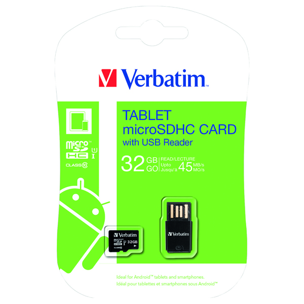 Verbatim Tablet 32GB micro SDHC Card With USB Reader 44059