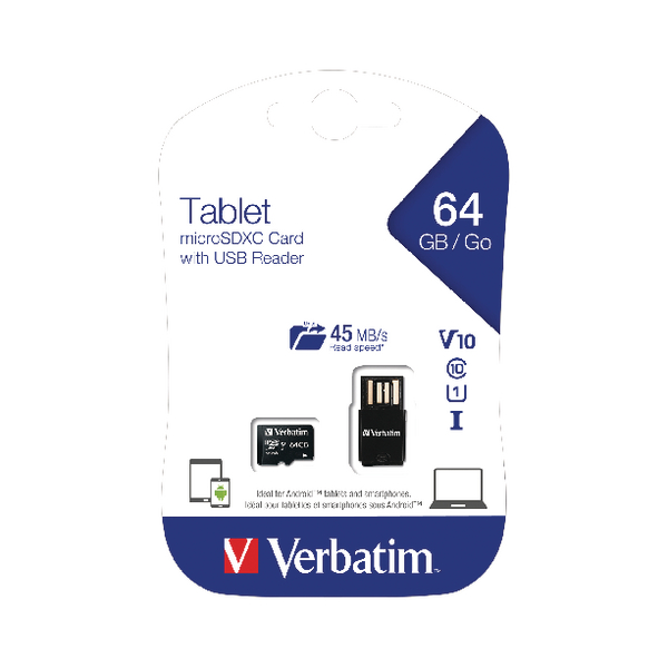 Verbatim Tablet 64GB micro SDHC Card With USB Reader 44060