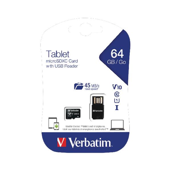 Verbatim Tablet 64GB micro SDHC Card With USB Reader 44060