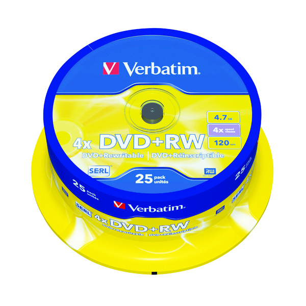 DVD Verbatim DVD+RW 4x Spindle (25 Pack) 43489