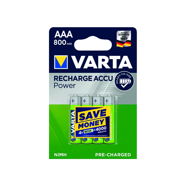 Varta AAA Rechargeable Accu Battery NiMH 800 mAh (4 Pack) 56703101404