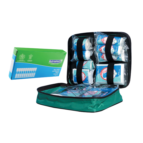 Astroplast Nylon Vehicle First Aid Kit with Free Pk10 Saline Mini Eyewash Pods 5ml WAC841009