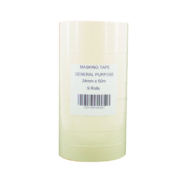 General Purpose Masking Tape 25mm x 50m White (9 Pack) 07517