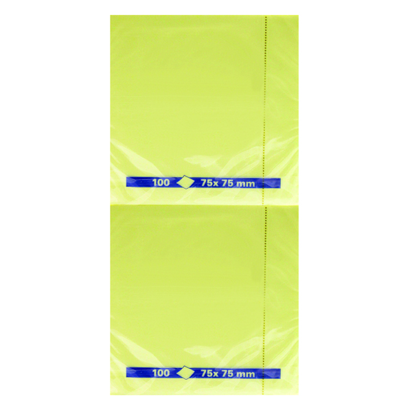 Yellow Standard Sizes Yellow Repositionable Quick Note Pad 75 x 75mm (12 Pack) WX10502