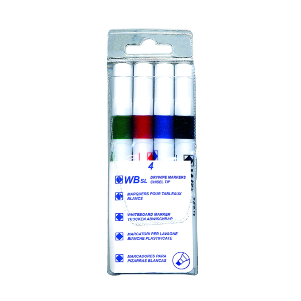 Assorted Whiteboard Markers Chisel Tip (4 Pack) WX26038