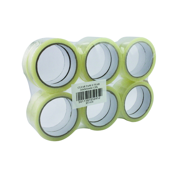 Clear Sticky Tape 24mmx66m (12 Pack) WX27017