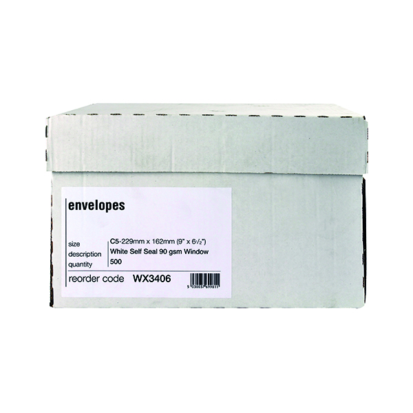 White Window C5 Window Envelope 90gsm Self Seal White Boxed (500 Pack) WX3406
