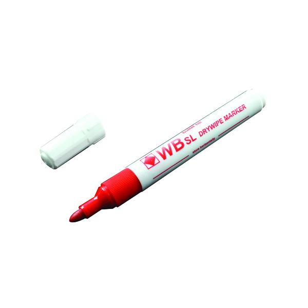 Red Whiteboard Marker Pens Bullet Tip (10 Pack) WB15 804025