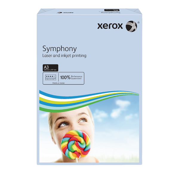 Colour 80gsm Xerox Copier A3 Symphony Tinted 80gsm Pastel Blue (500 Pack) 003R91953