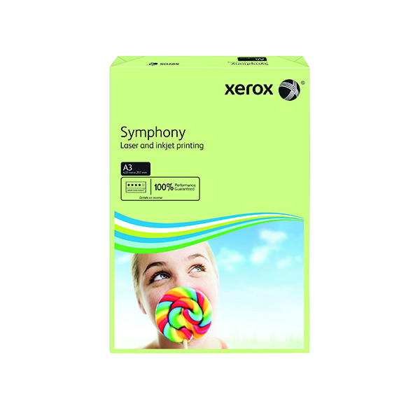 Colour 80gsm Xerox Copier A3 Symphony Tinted 80gsm Pastel Green (500 Pack) 003R91955