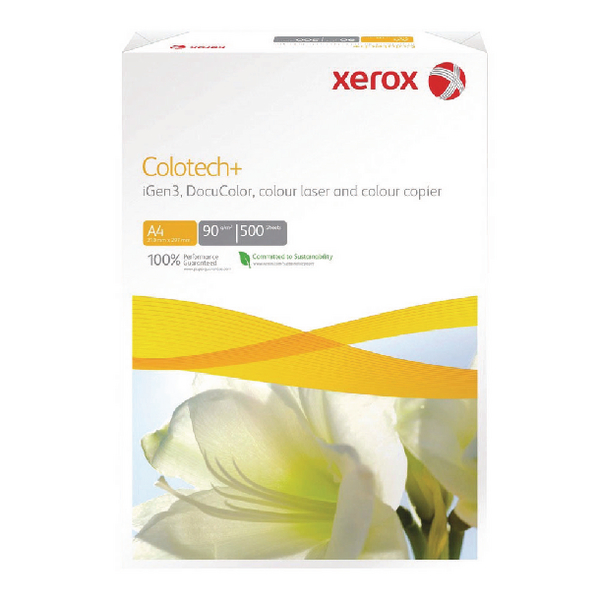 White 120gsm to 160gsm Xerox Colotech+ White A4 140gsm Gloss-Coated Paper (400 Pack) XX90339