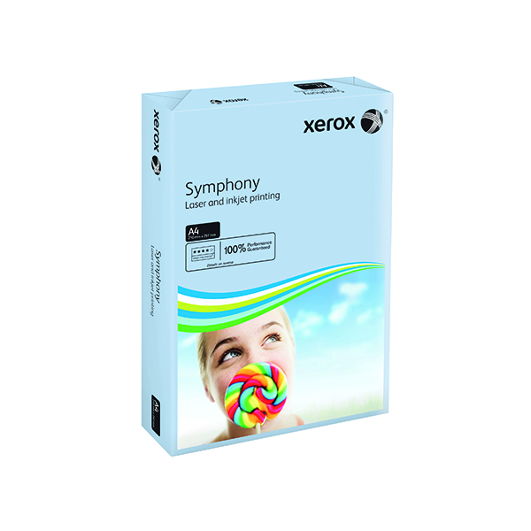 Single Colour Xerox Symphony Pastel Blue A4 160gsm Card (250 Pack) XX93222